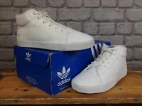 ADIDAS CHILDRENS GIRLS UK 5 EU 38 WHITE LEATHER PERFORATED MID TRAINERS