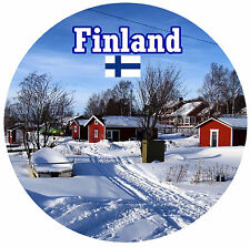 FINLAND - SIGHTS / FLAG - ROUND NOVELTY SOUVENIR FRIDGE MAGNET - NEW / GIFTS