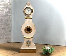 Dollhouse miniature wooden Swedish Mora longcase working clock - 1:12 scale