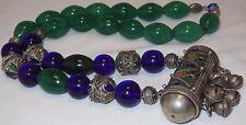 Old Berber Bead Koran Prayer Box Necklace Green Quartz Blue Peking Glass Signed