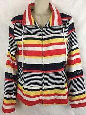AMI Women's Jacket SZ M Full Zip Striped Cotton/spandex Boating Sailing Coat