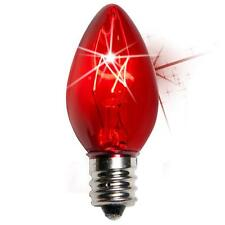 Box of 25 C7 Twinkle Red Triple Dipped Transparent Christmas Bulbs 7 Watt