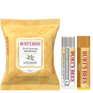 Burts Bees Facial Cleansing Towelettes White Tea Extract + Honey & Ultra Lip Moi
