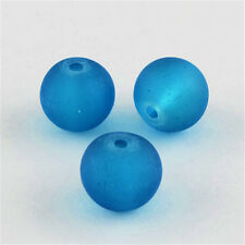 about 200pcs/strand Transparent Glass Bead Frosted Round DarkTurquoise 4mm 31.4""