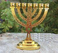 "JERUSALEM TEMPLE MENORAH 4"" Jewish Lamp Candelabra David Star 7 Branch Holy Land"