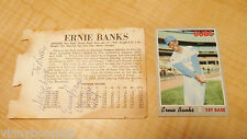 ERNIE BANKS AUTOGRAPHED STAT CARD CHICAGO CUBS 1967 & BASEBALL CARD # 630 TOPPS