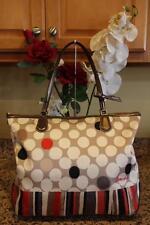 Coach Poppy Polka Dot Stripe Sateen & Patent Leather Tote Bag #25124 (pu220