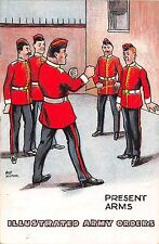 POSTCARD   COMIC   MILITARY  Illustrated  Army  Orders   Present  Arms