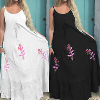 Summer Women Ladies Strappy Cami Maxi Dress Beach Floral Long Sundress Plus Size