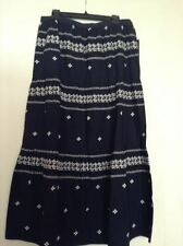 NEW TOMMY HILFIGER WOMEN MAXI SKIRT SIZE L NAVY WITH WHITE PRINT