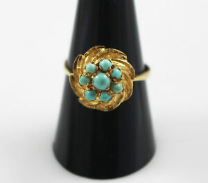 Vintage 18ct YELLOW GOLD TURQUOISE Daisy Cluster Ring  UK Size: Q