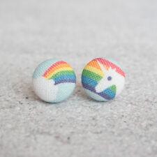 Rainbow Unicorn Fabric Button Earrings