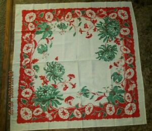 Vintage 1950s Printed Cotton TABLECLOTH 40 X 40