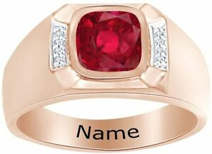 Cushion Simulated Ruby Personalised Engravable Men's Band Ring in  Silver