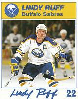 87-88 BUFFALO SABRES BLUE SHIELD POSTCARD #22 LINDY RUFF