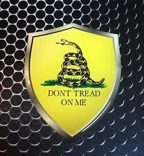 "Dont Thread On Me car Sticker Snake Shield Proud Domed Decal Emblem 3D 2.3""x 3"""