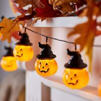 20 LED Battery Operated LED Pumpkin Hat Halloween Indoor String Lights 3M