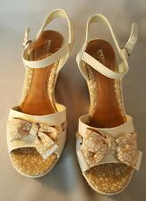 Sperry Top Sider White Flower Sandals Bow Wedge Platform Shoes Ladies Size  9M