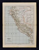 1885 Cortambert Map - Peru Lima Cuzco Arequipa Amazon Puno Jivaros South America