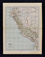 1885 Cortambert Map - Peru Lima Cuzco Arequipa Amazon Puno Jivaros South America