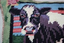 EUC Vintage VTG Katha Diddel Home Collection Cow Needlepoint Pillow Wool velvet