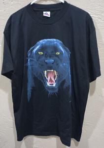 Vintage 90s Black Panther Big Face Shirt Human-I-Tees Mens Size XL RARE