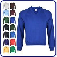 "New Good Quality Boys Girls School Plain V-Neck Sweatshirt sizes 22""-34"" (1445)"