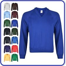 "Plain V-Neck Sweatshirt Good Quality Boys Girls School Uniform sizes 22""-34"""