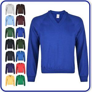 "Plain V-Neck Sweatshirt Good Quality Boys Girls School Uniform sizes 22""-34"""