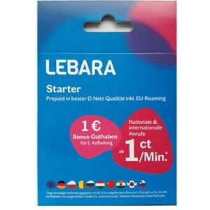 Lebara Prepaid SIM Karte Telekom D1-Netz aktiv aktiviert verschiedene Guthaben
