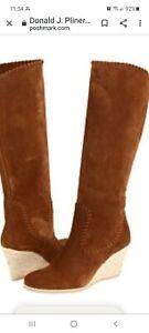 Donald J Pliner Quinn Brown Suede Knee High Espadrille Wedge Heels Boots Size 11