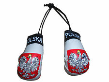 "Poland Polish Boxing Gloves Mini Olympics Soccer Mirror Car Hanging 2"" x 4"""