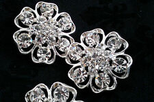 23 mm Clear Rhinestone Silver Metal  Buttons. Bridal Embellishment 10 Pieces
