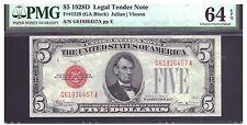 FR# 1529 $5 1928-D LEGAL TENDER NOTE  PMG 64EPQ CHOICE UNC,KEY DATE NOTE