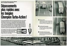PUBLICITE  1970    CHAMPION  bougies TURBO- ACTION ( 2 pages)