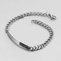 Stainless Steel Curb Chain ID Bracelet Name Tag Engravable extra slim 22cm