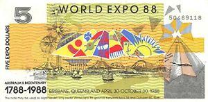 Australia $5 4.30.1988 Bicentennial Commemorative World Expo Circulated Banknote