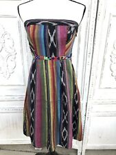 EDME & ESYLLTE Anthropologie S Black Purple Beaded Southwest Strapless Dress