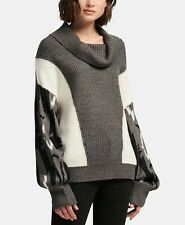 New $220 Dkny Women'S Grey Colorblocked Cowl Neck Printed Sleeve Sweater Size Xl