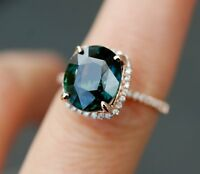2ct Cushion London Blue Topaz Diamond Accent Engagement Ring 14k Rose Gold Over