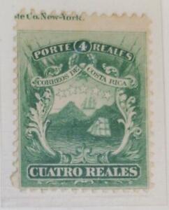 A) 1864, COSTA RICA, NATIONAL EMBLEM, PRINT ERROR OF 4 REALES, GREEN