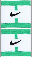 New Nike Dri-Fit Stealth Wristbands Bracelets White/Green Tennis ONE SIZE