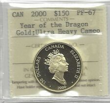 **2000**, ICCS Graded $150 Year of the Dragon Gold Coin**PF-67 UHC**