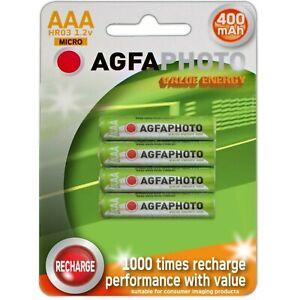 4 x AAA AGFA cordless Phone batteries 400mah 44.5mm Long PHOTO
