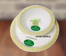Star Wars Baby Yoda Kids Breakfast Cereal Bowl & Plate Set Novelty Gift Sets NEW