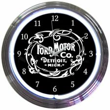 Ford Motor Company 1903 Heritage Emblem White Neon Clock Office Garage Man Cave