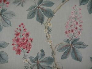 "SANDERSON CURTAIN FABRIC DESIGN ""Chestnut Tree"" 1.9 METRES SEASPRAY/PEONY 190CM"