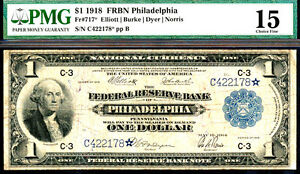 1918 $1 STAR FRBN-FR#717*-PHILADELPHIA-LOW S#- ONLY 27 KNOWN-RARE-PMG 15