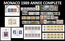 MONACO 1989 ANNEE COMPLETE Neuve** PREO inclus, 5 Blocs & 2 Carnets Cote:200€