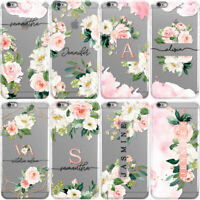 PERSONALISED INITIALS PHONE CASE FLORAL HARD COVER FOR SAMSUNG S7 S8 S8+ S9 S9+